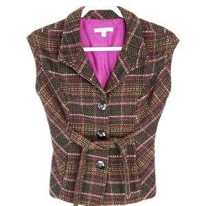 Cabi Cinch It Up Wool Blend Plaid Vest